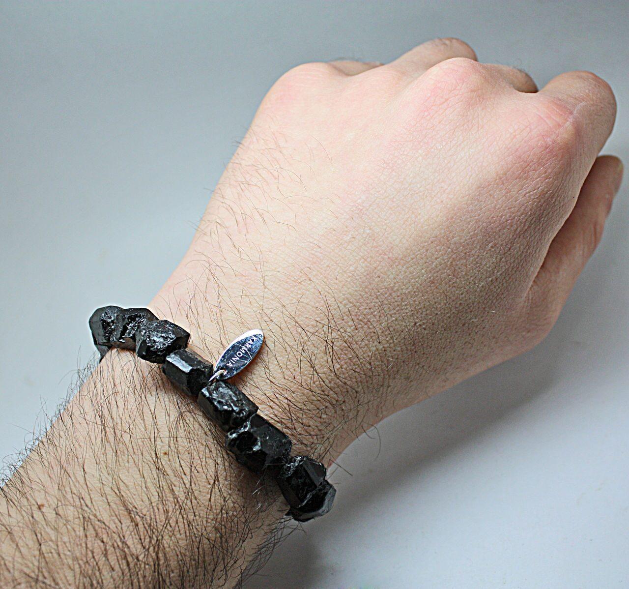 Турмалиновый мужской браслет